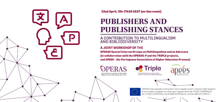 Banner on the workshop Publishers and Publishing Stances, held by OPERAS, OPERAS-P, TRIPLE and APEES